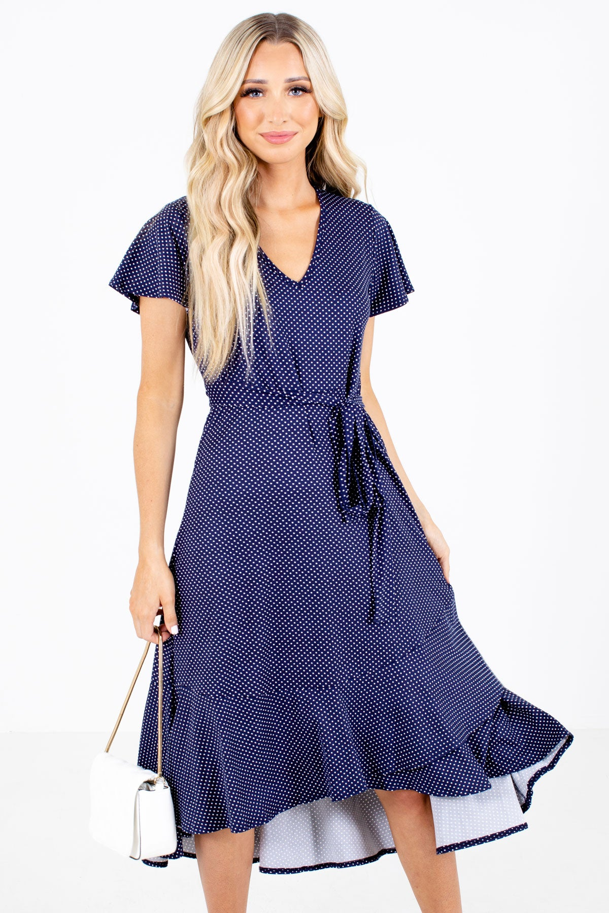Navy and White Polka Dot Boutique Dresses for Women