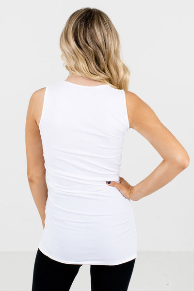 Women's White Long Length Boutique Tank Top