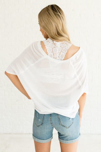 White Oversized Women's Boutique Tops