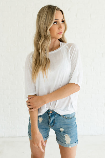 White Semi-Sheer Boutique Tops for Women