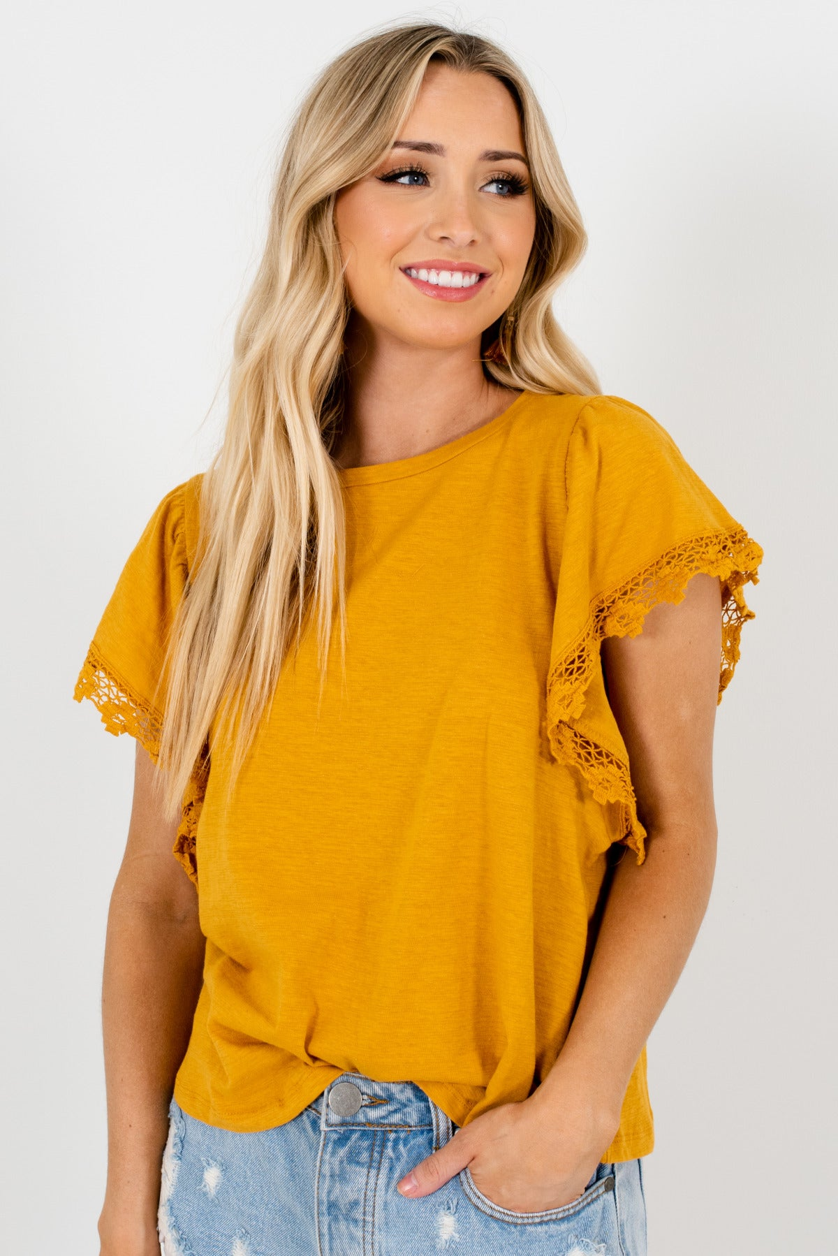 Mustard Yellow Crochet Lace Sleeve Boutique Tops for Women