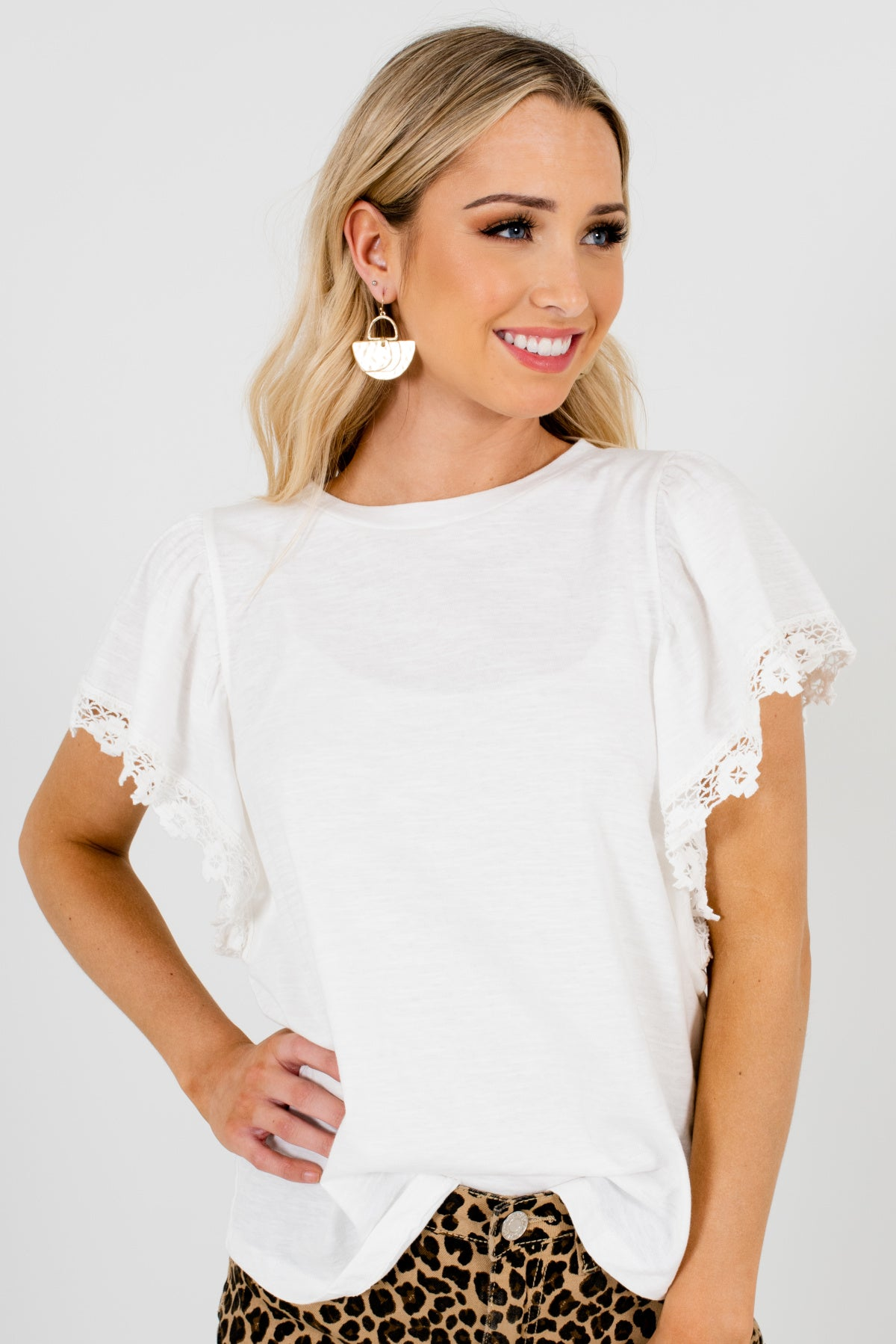 White Butterfly Sleeve Style Boutique Tops for Women