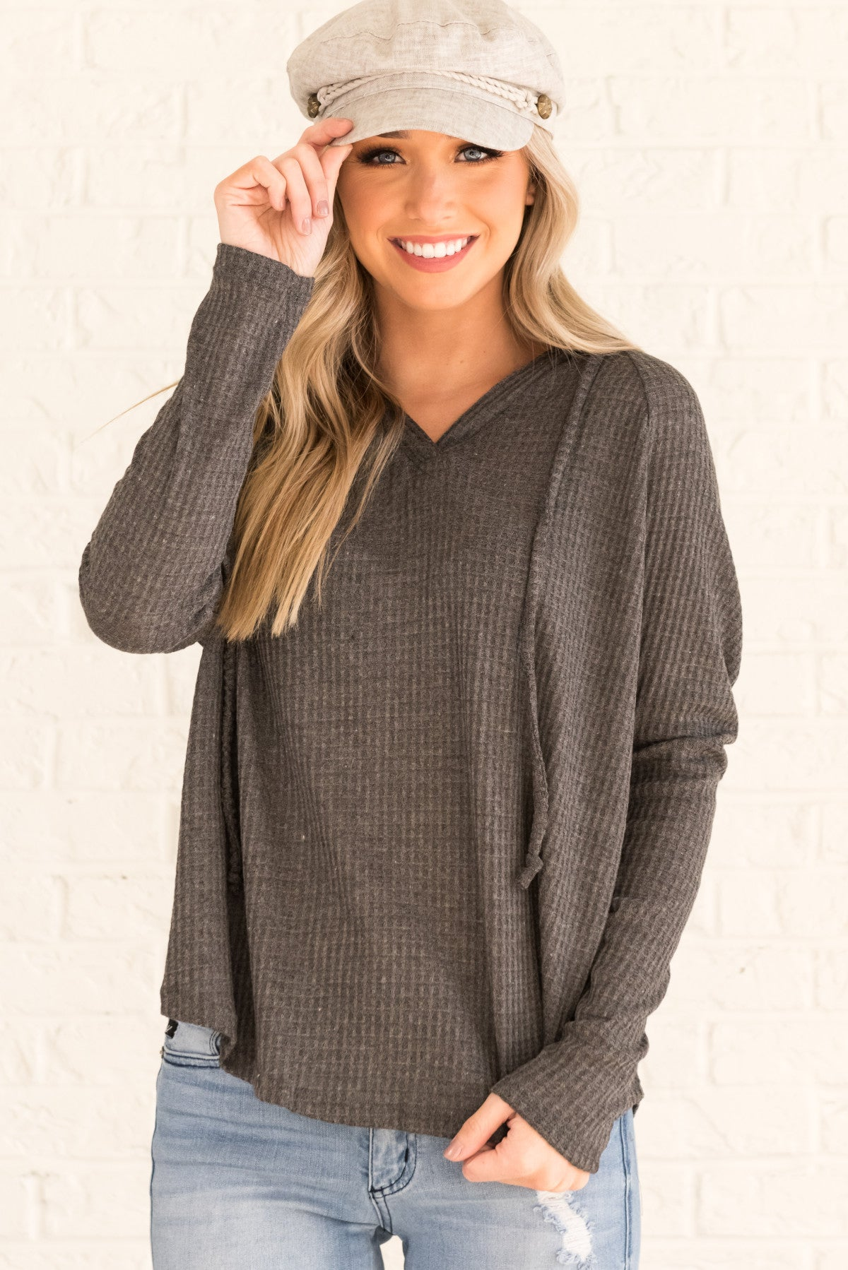 Charcoal Gray Hooded Boutique Tops for Women