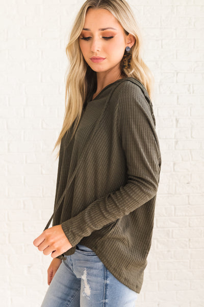 Olive Green High-Low Hem Hoodies for Women
