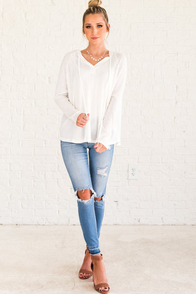 White Flowy Drawstring Hoodies for Women