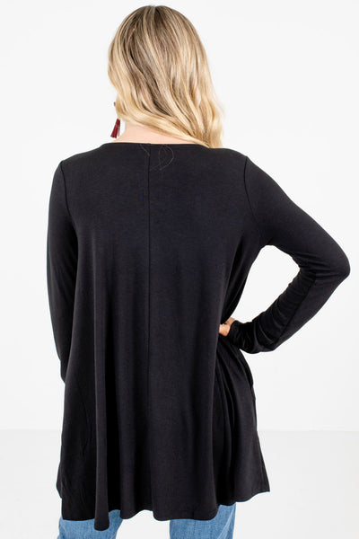 Women's Black Boutique Top with Pockets