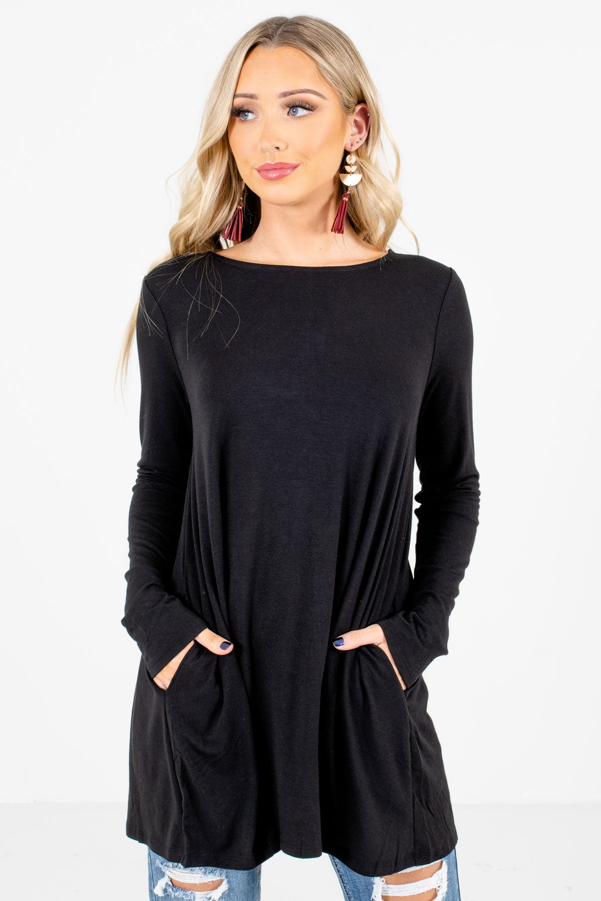 Black Boutique Long Sleeve Tops for Women