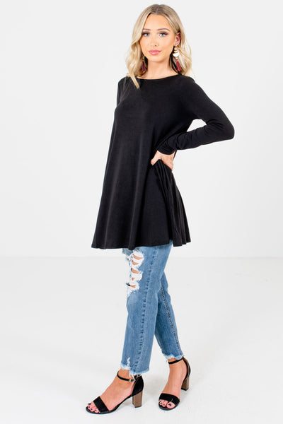 Black Long Length Boutique Tops for Women