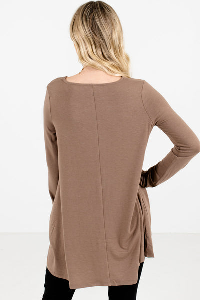 Women's Brown Boutique Top with Pockets