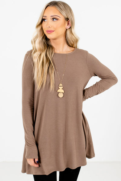 Women's Brown Layering Boutique Tops