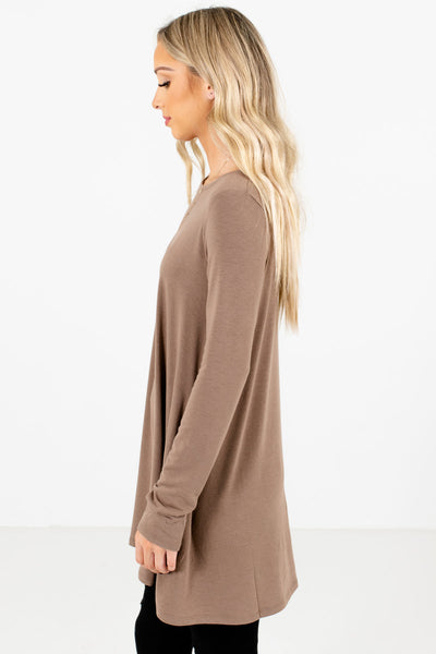 Brown Long Length Boutique Tops for Women