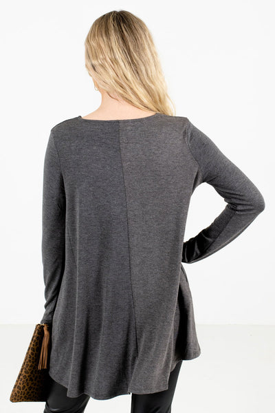 Women's Charcoal Gray Boutique Top with Pockets