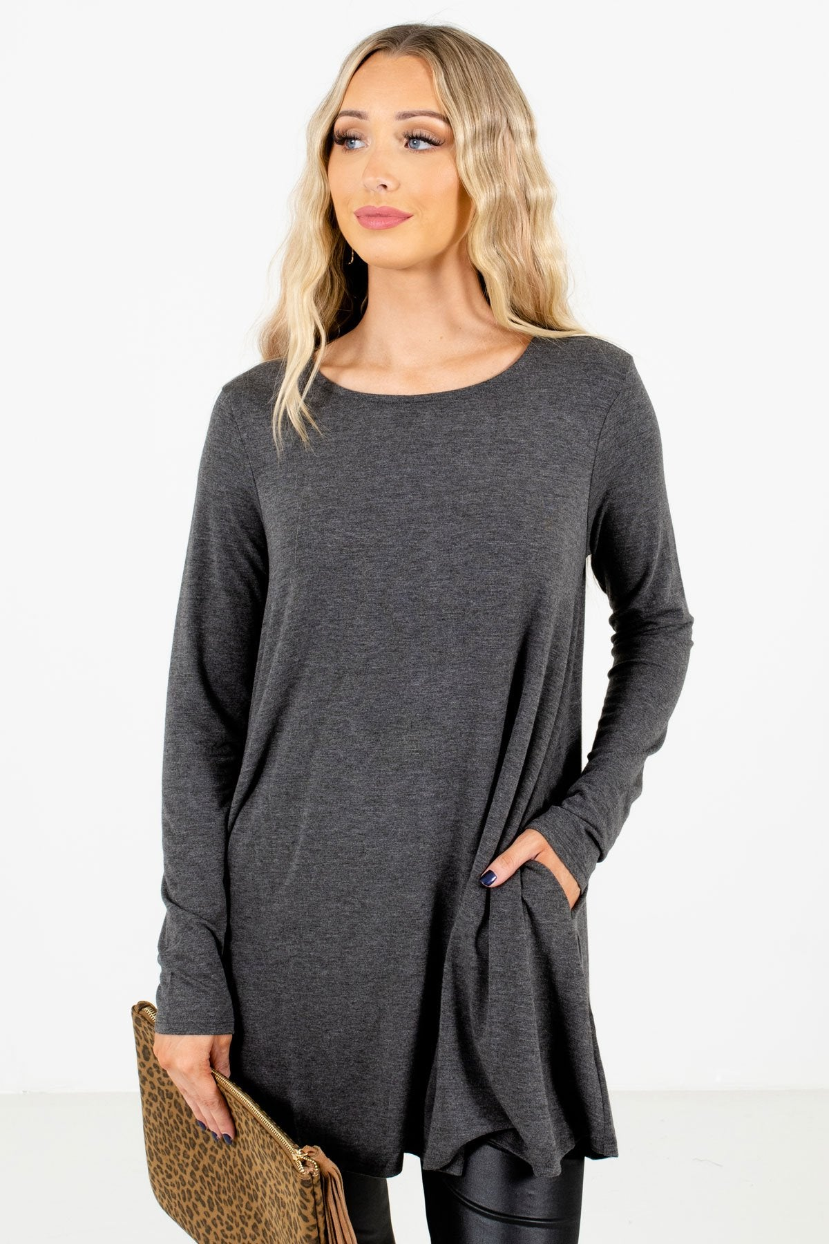 Charcoal Gray Boutique Long Sleeve Tops for Women
