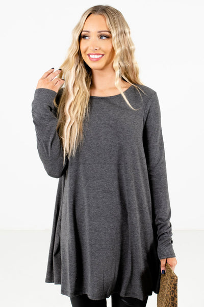 Women's Charcoal Gray Layering Boutique Tops
