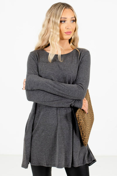 Women's Charcoal Gray Soft High-Quality Material Boutique Tops