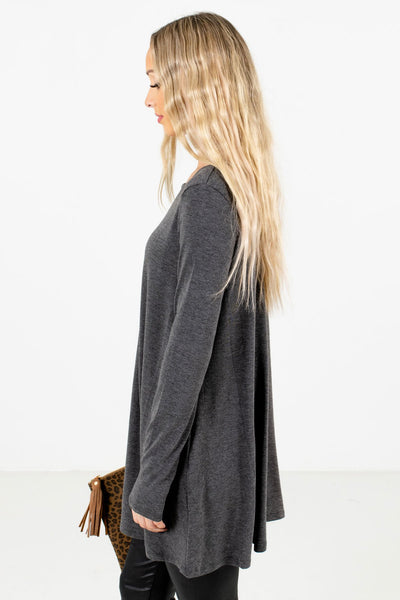 Charcoal Gray Long Length Boutique Tops for Women