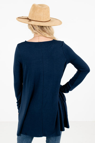 Women's Navy Blue Boutique Top with Pockets