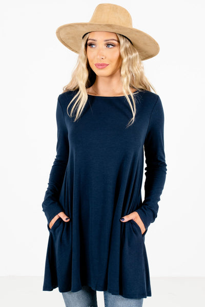 Navy Blue Boutique Long Sleeve Tops for Women