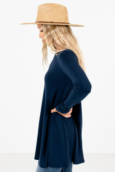 Navy Blue Long Length Boutique Tops for Women
