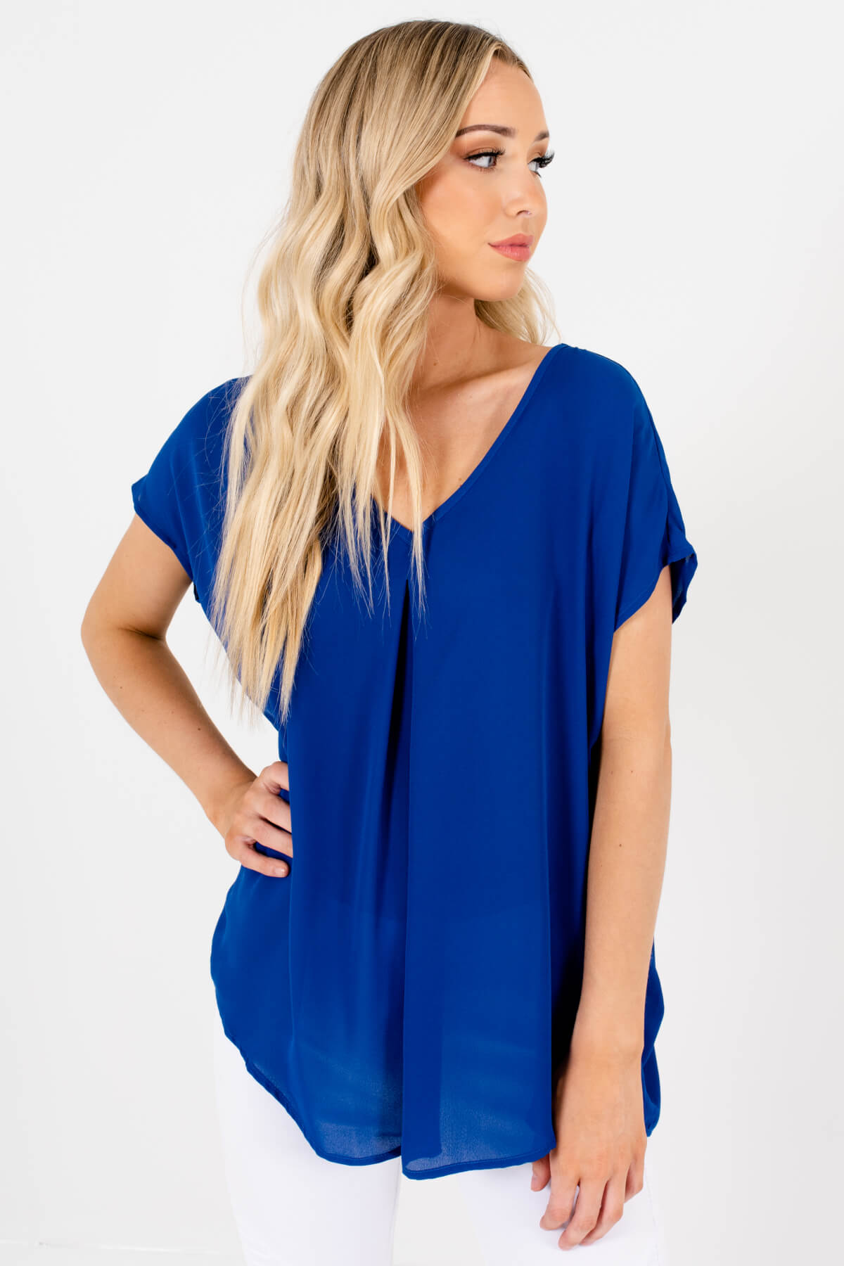 Royal Blue Lightweight High-Quality Boutique Blouses for Women