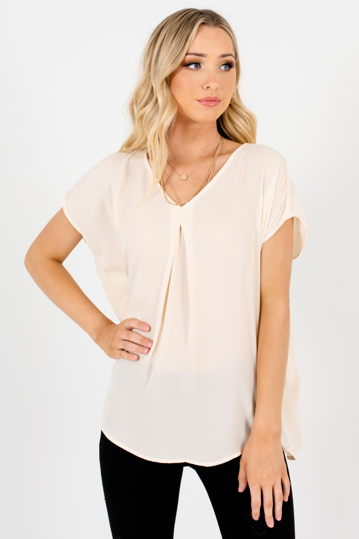 Cream Lightweight High-Quality Boutique Blouses for Women