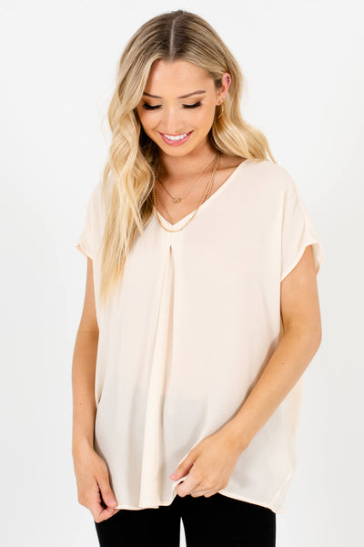 Women's Cream Cute and Comfortable Boutique Tops