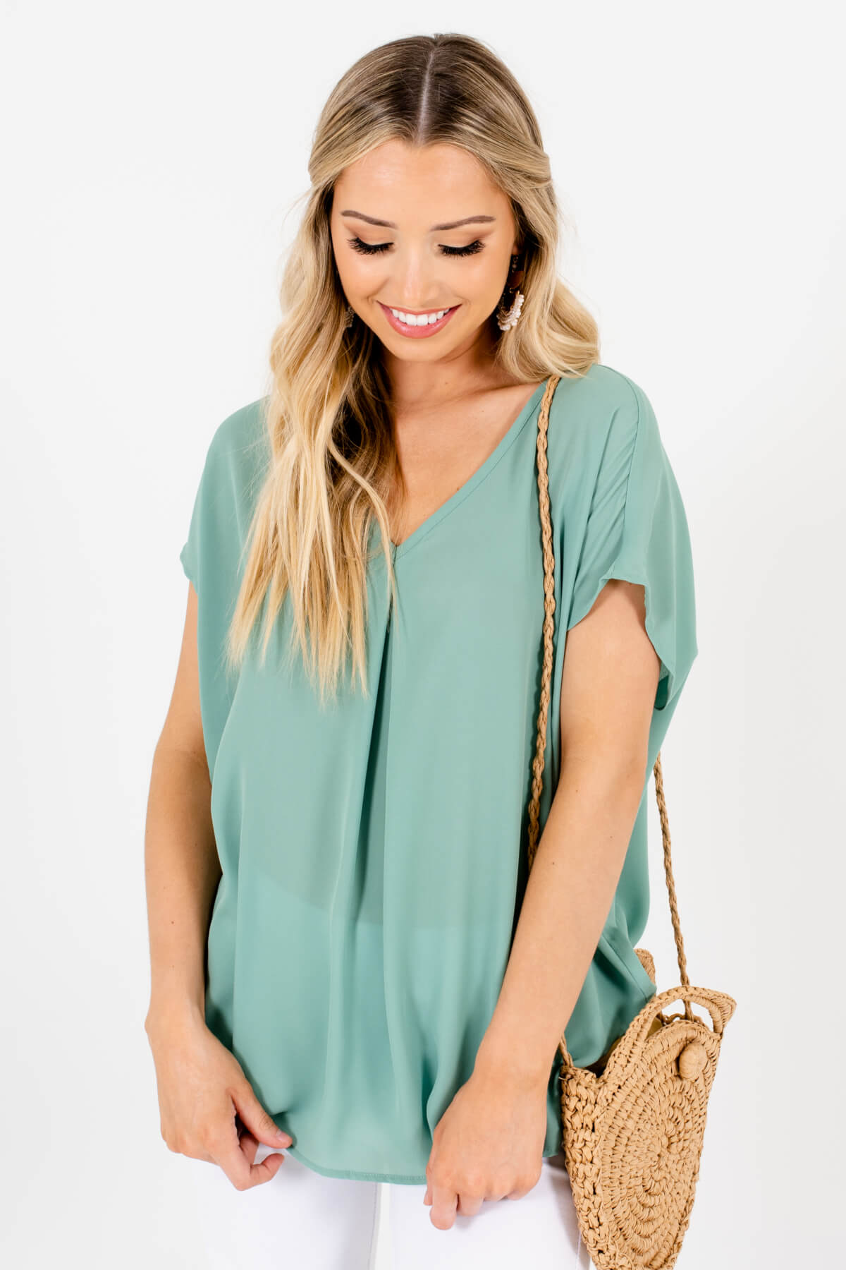 Green Lightweight High-Quality Boutique Blouses for Women