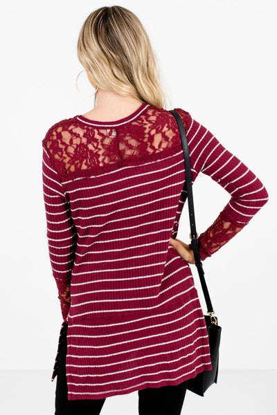 Women's Burgundy Lace Accented Boutique Tops