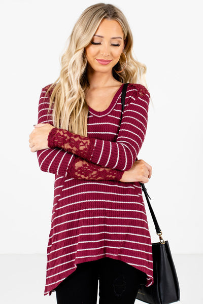 Women's Burgundy Warm and Cozy Boutique Tops