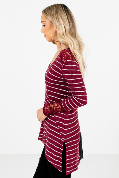 Burgundy High-Low Hem Boutique Tops for Women