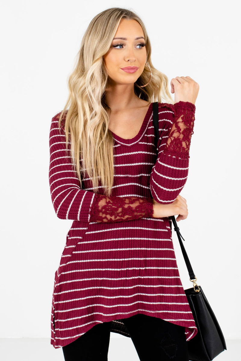 Simply Adorable Burgundy Striped Top