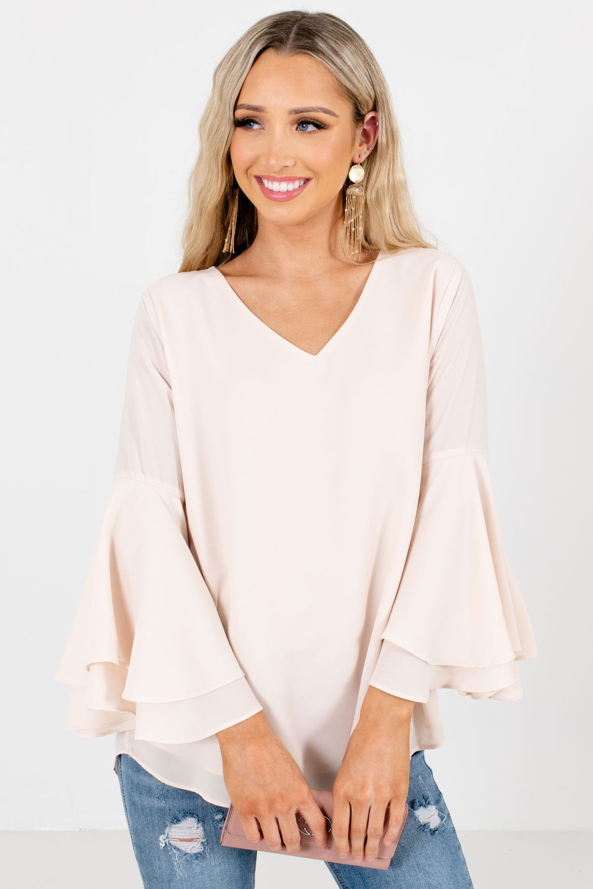 Cream High-Quality Lightweight Material Boutique Blouses for Women