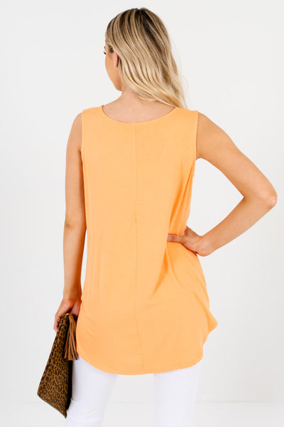 Women's Orange Lightweight Flowy Boutique Tank Top