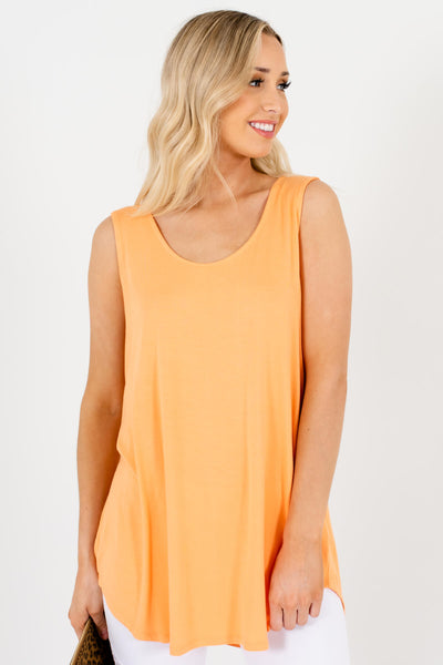Orange Rounded Hem Boutique Tank Tops for Women