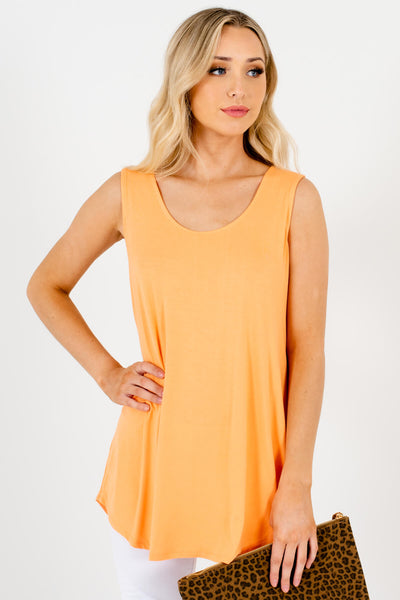 Orange Rounded Neckline Boutique Tank Tops for Women