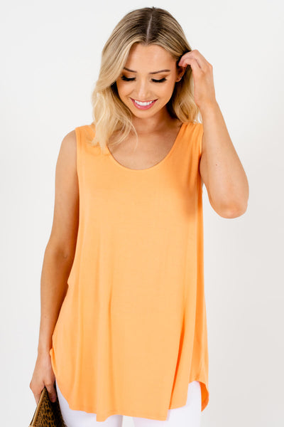 Women's Orange Tank Style Boutique Tops