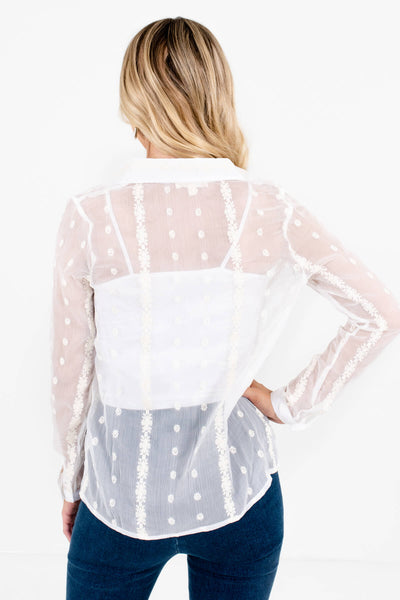 Sheer White Embroidered See-Through Button-Up Shirts