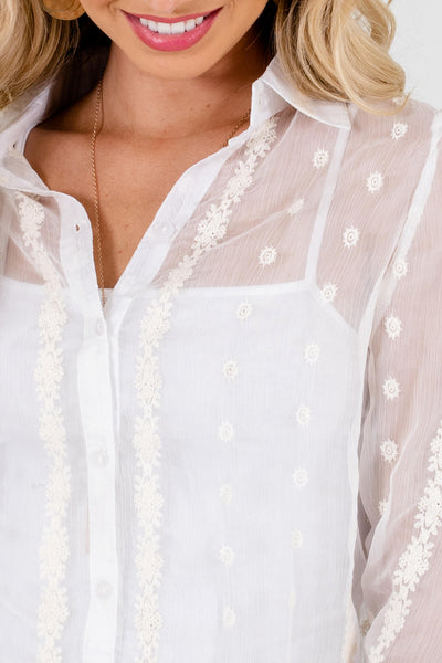 White Button-Up Shirts with Semi-Sheer Embroidered Material