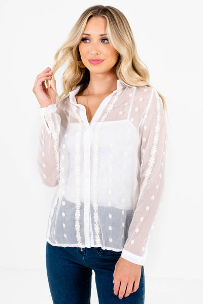 White Embroidered Semi-Sheer Button-Up Shirts for Women