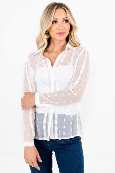 White Sheer Embroidered Button-Up Shirts Affordable Online Boutique