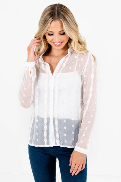 White See Through Sheer Embroidered Button-Up Shirts