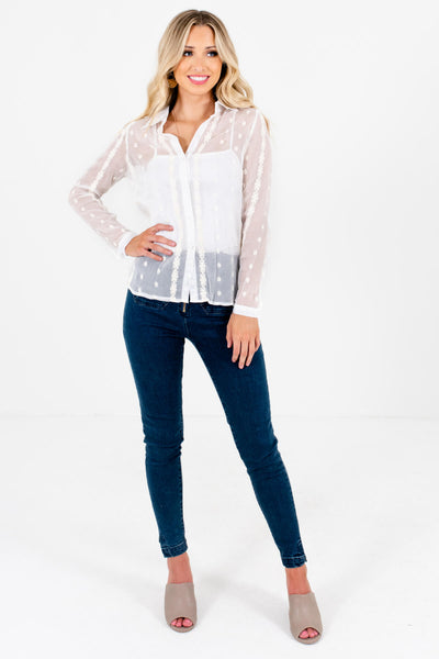 White Embroidered Sheer Button-Up Shirts Affordable Online Boutique