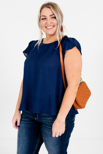 Navy Blue Plus Size Boutique Blouses for Women