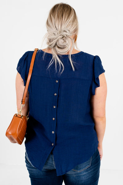 Navy Blue Plus Size Boutique Blouses with Ruffles and Buttons