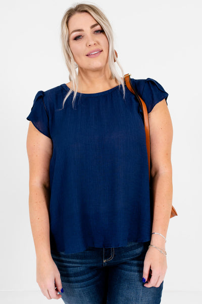 Navy Blue Cute Plus Size Boutique Ruffle Blouses for Women