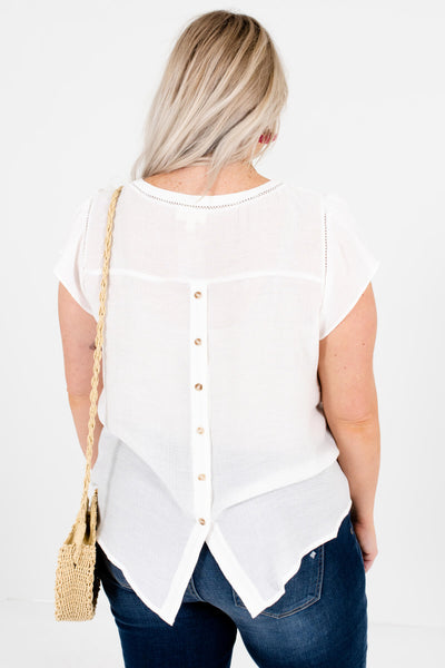 White Plus Size Ruffle Crochet Button Blouses Affordable Online Boutique
