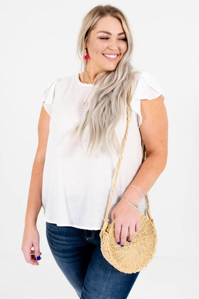 White Plus Size Boutique Tops and Blouses for Women