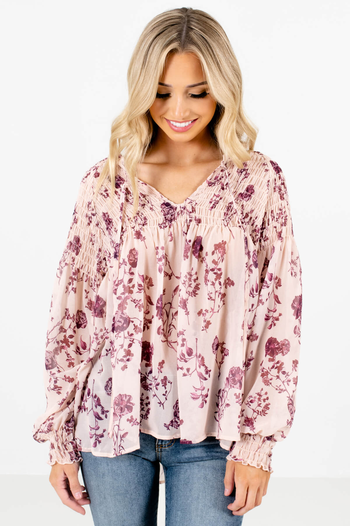 Beige Pink and Purple Floral Patterned Boutique Blouses for Women