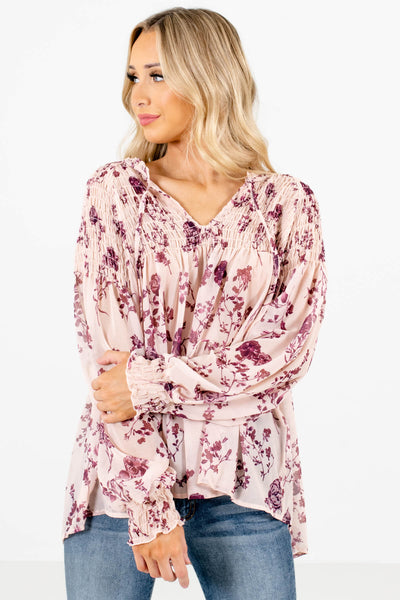 Beige Floral Cute and Comfortable Boutique Blouses for Women