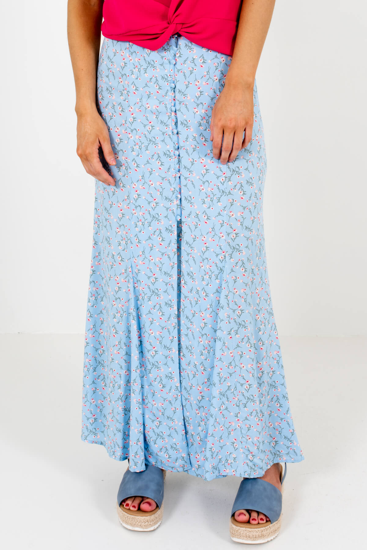 Light Blue Floral Button-Up Split Front Maxi Skirts for Spring and Summer